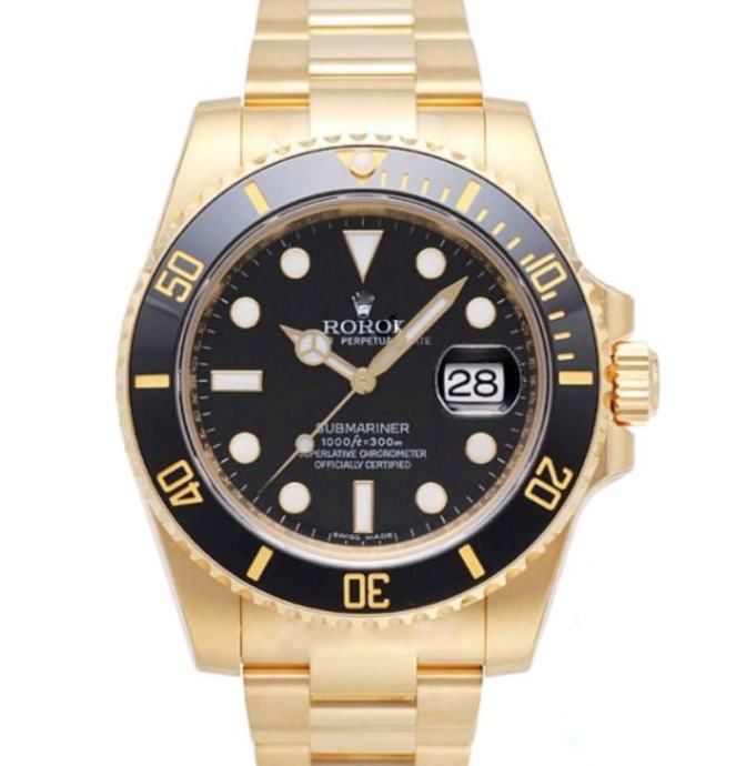 Rolex Submariner 18k Gold Black Dial Ceramic Bezel Replika
