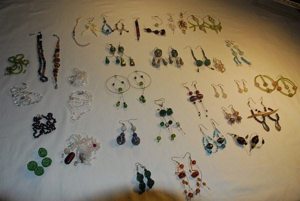 nakit  ,lot ,  naušnice od pravog Murana i polu  dragi kamen