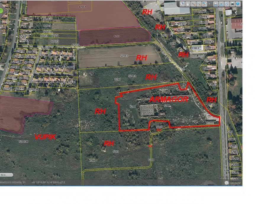 Građevinsko zemljište i 5 zgrada , Vukovar, Sajmište 21027 m2