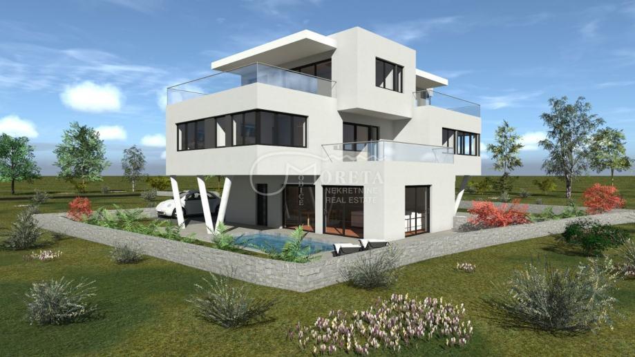 Srima, nova dvojna kuća s bazenom u blizini plaže (prodaja)