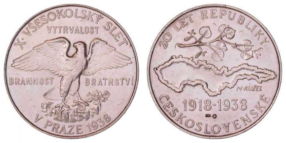 (39) ČEHOSLOVAČKA Sokolska medalja 1938. / Srebro /
