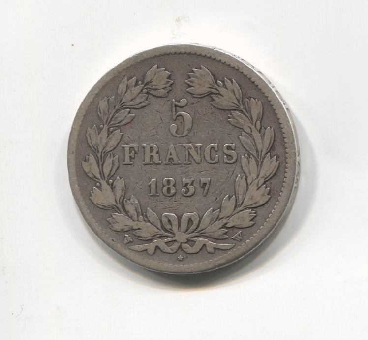 FRANCE / FRANCUSKA - 5 FRANCS 1837 W LILLE LOUIS PHILIPPE I, SREBRO