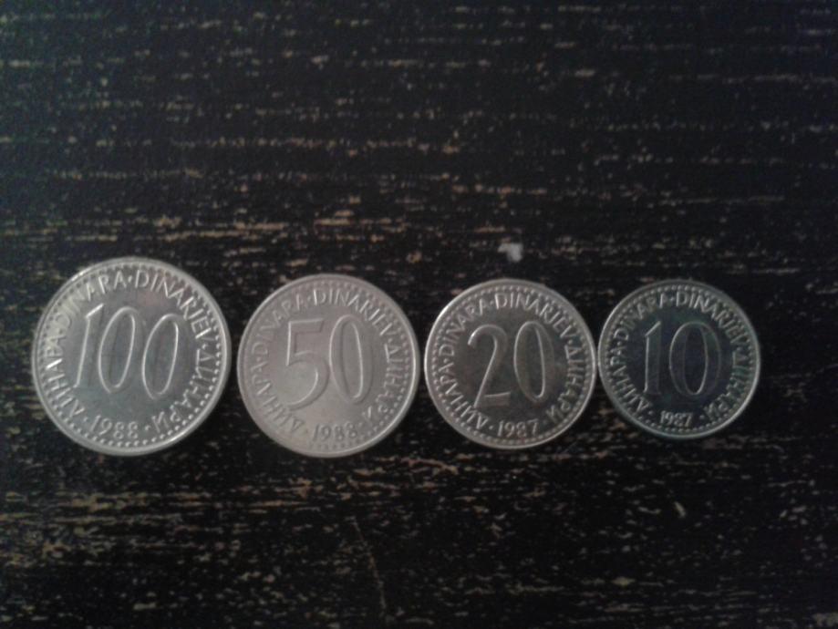 KOVANICE OD 10, 20, 50,100 dinara SFRJ (LOT 4 KOM)