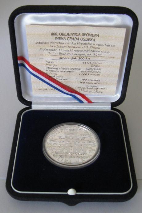 Srebrenjak 200 Kn 800 Obljetnica Spomena Imena Grada Osijeka