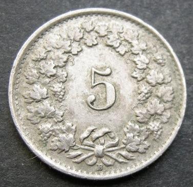 SWITZERLAND 5 RAPPEN 1944B