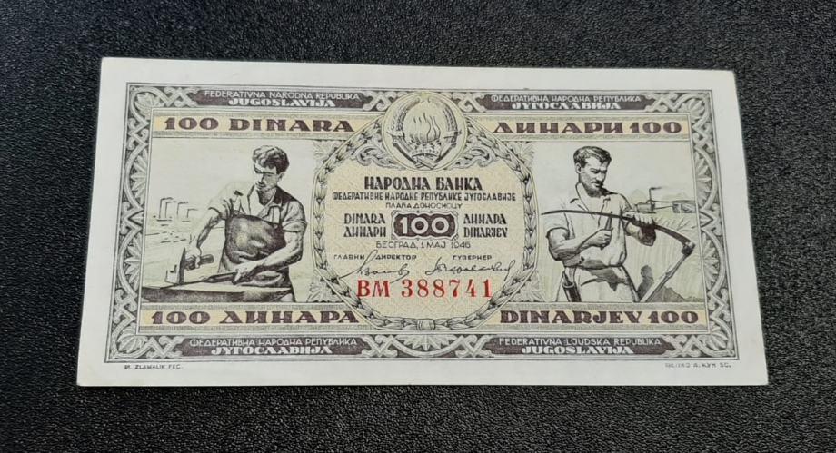 """100 DINARA 1.5.1946. GREŠKA """"JUGOSAAVIJA"""", UNC, POVOLJNO! RATE! RAČUN!"""