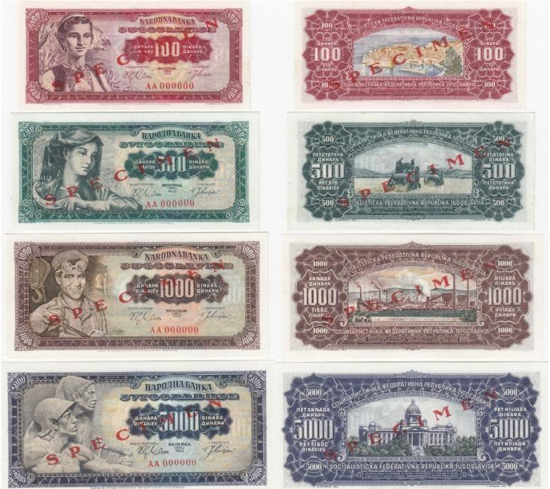 JUGOSLAVIJA Specimen set 1963 / 100 + 500 + 1000 + 5000 dinara / UNC
