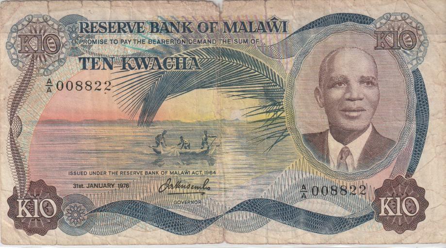 MALAWI 10 KWACHA 1964