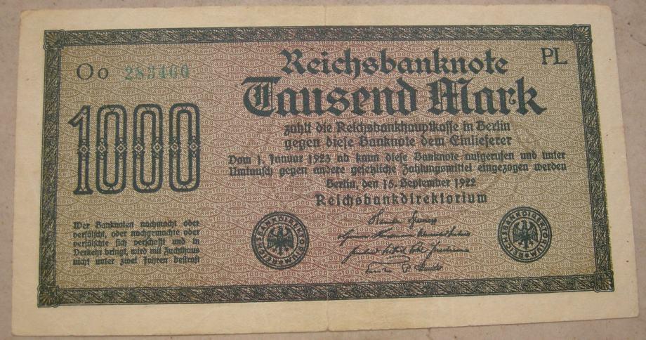 Njemačka 1,000 Mark 1922