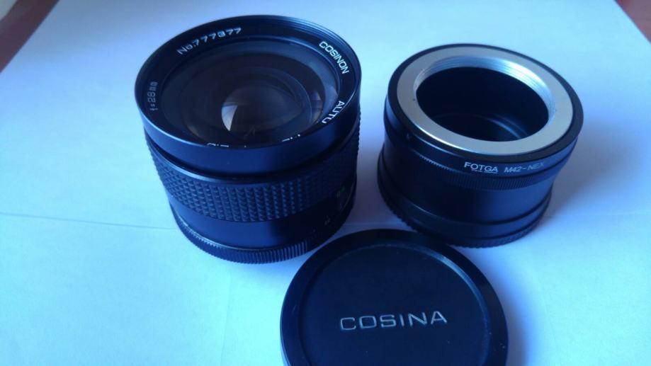 Cosinon 28mm f2 8 m42 + e-mount