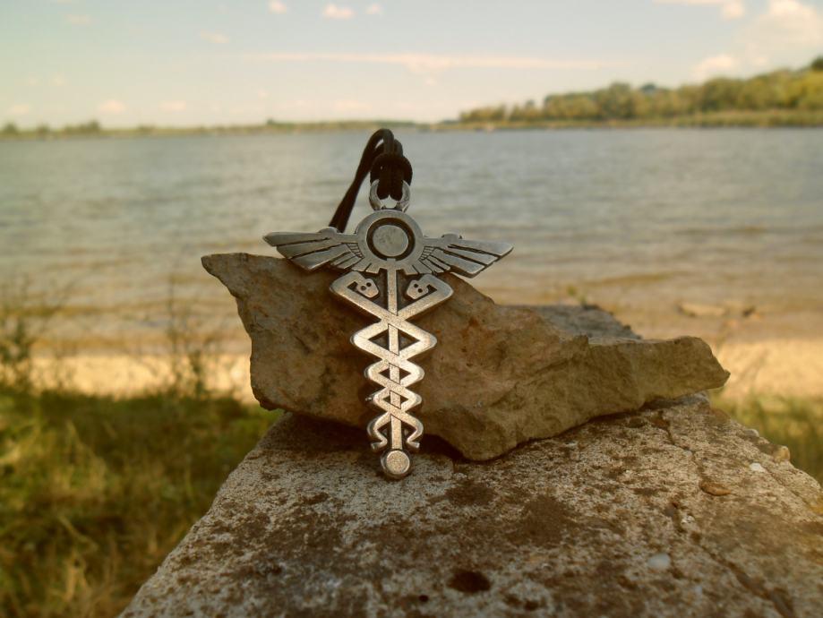 Hermesov krst-kriz simbol apotekara ogrlica
