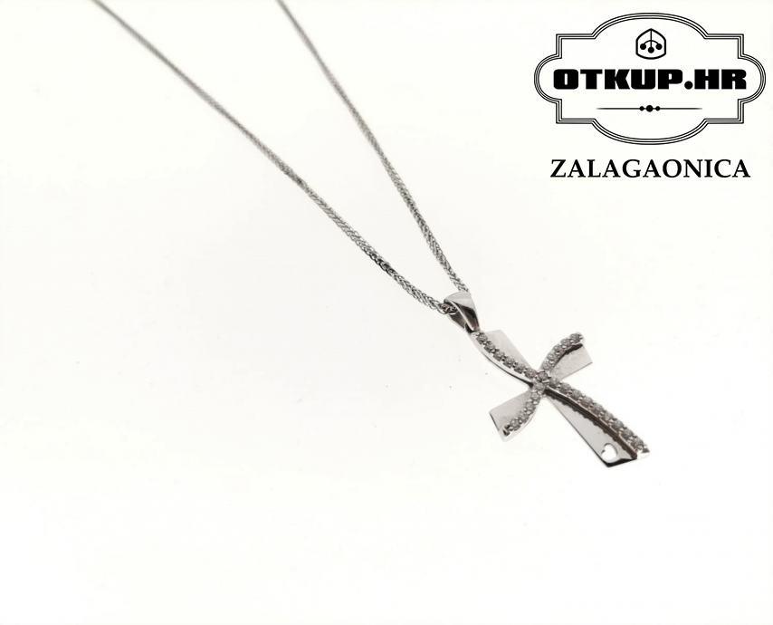 ZLATNI LANČIĆ S PRIVJESKOM KRIŽ 3,86G (14K), R1, RATE!