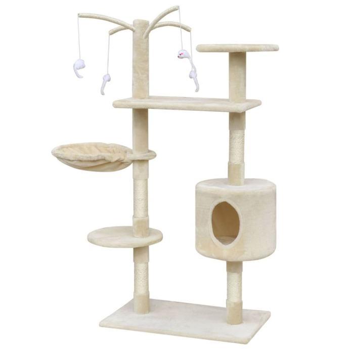 Bež penjalica / grebalica za mačke s 1 kućicom 120 cm - NOVO