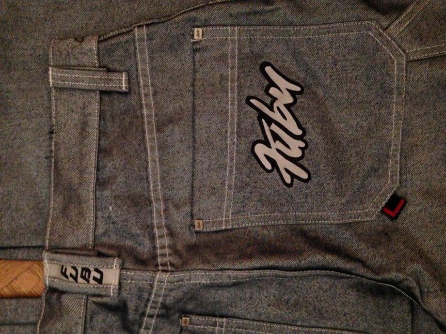 FUBU original denim sivi sjani jeans hip hop baggy shiny