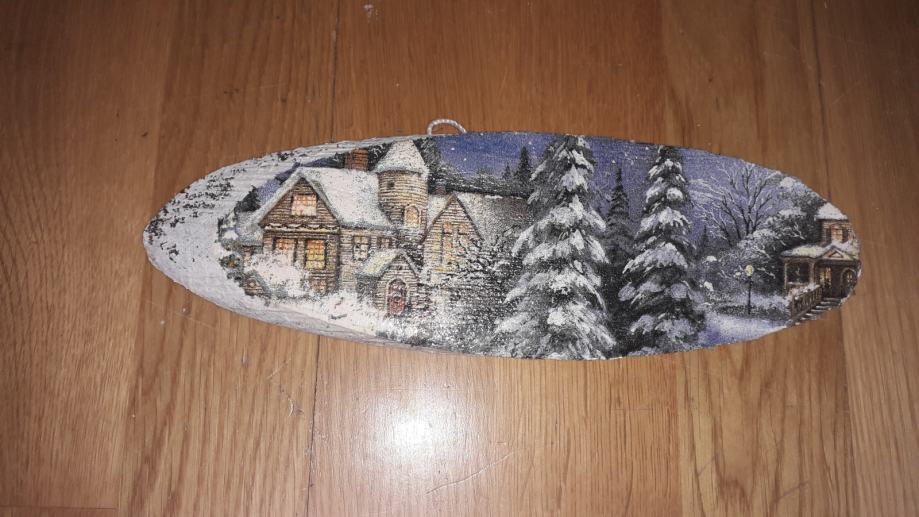 Božić slika na godu drveta  - decupage tehnika - 5