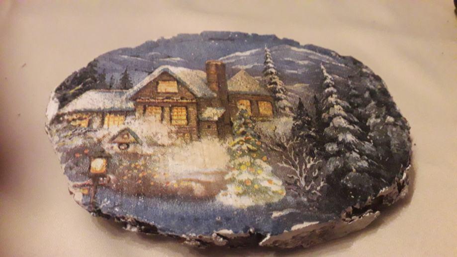 Božić Slika na godu drveta  - decupage tehnika - 6
