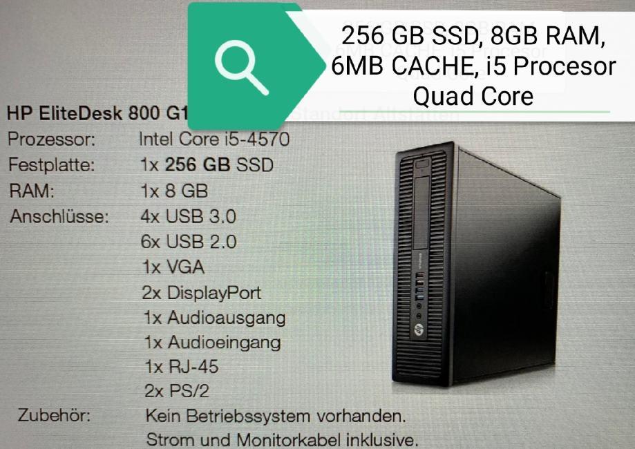 HP, i5 Quad Core, 256 SSD, 8GB RAM, 900 KN kom.