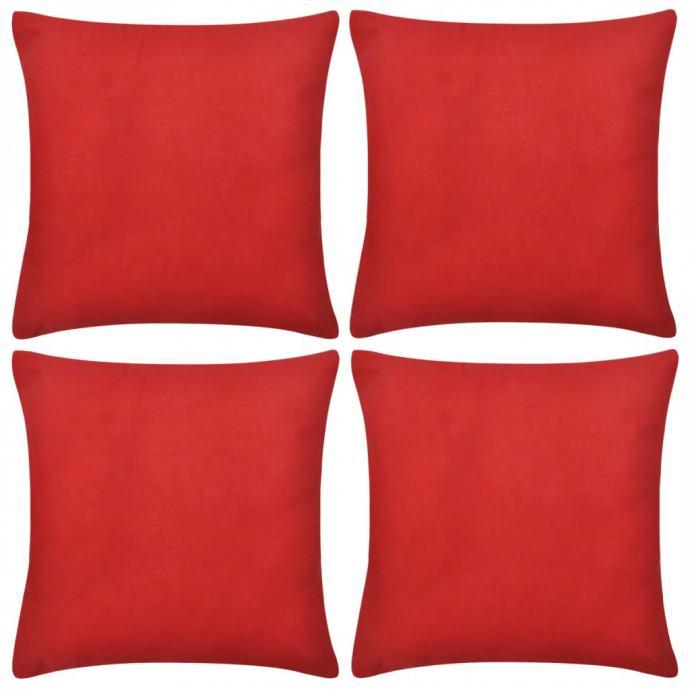 4 Crvene Jastučnice Pamuk 80 x 80 cm - NOVO