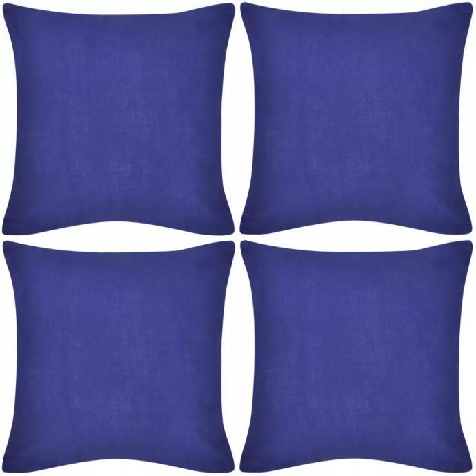 4 Plave Jastučnice Pamuk 50 x 50 cm - NOVO