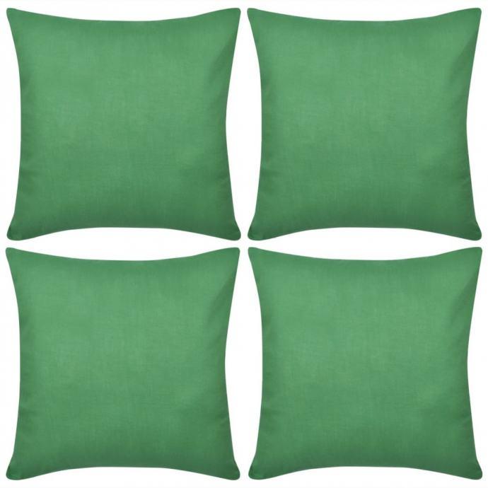 4 Zelene Jastučnice Pamuk 50 x 50 cm - NOVO