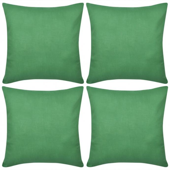 4 Zelene Jastučnice Pamuk 80 x 80 cm - NOVO