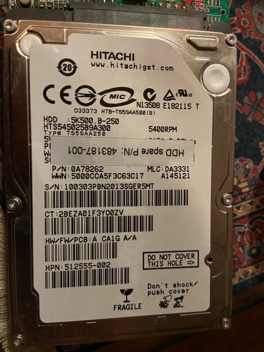 """Hard disk 2,5"""", 160 GB, 250 GB"""
