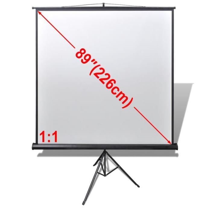 Projekcijsko platno na izvlačenje s podesivim stalkom 160x160 cm 1:1 -