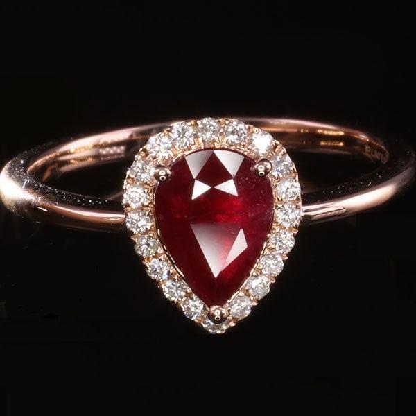prsten dijamantni sa rubinom i dijamantima dijamant 1,28ct zlatni 18K