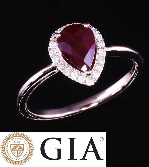 prsten GIA dijamantni rubin dijamantima dijamant 1,38ct zlatni zlato