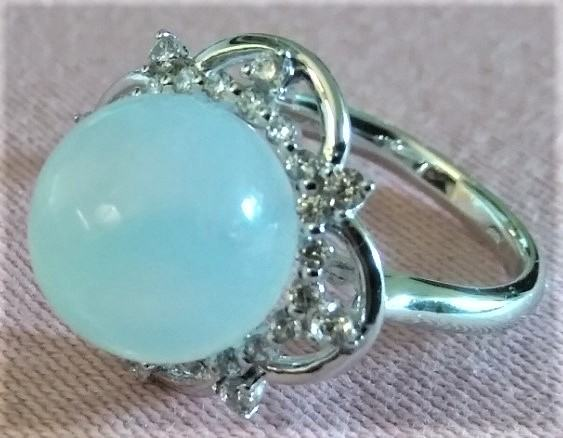 srebrni prsten sa mjesečevim kamenom