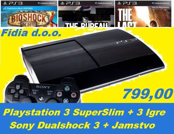 ⭐️⭐️ PS3 SUPER SLIM + 3 IGRE ⭐️⭐️