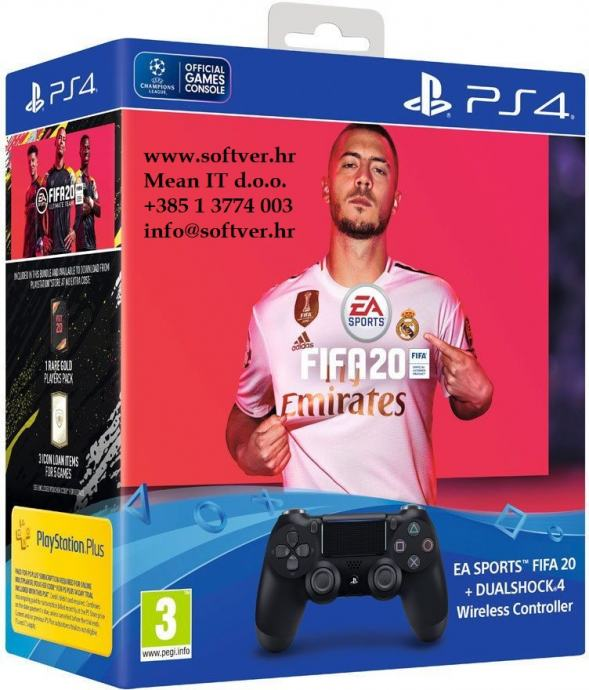 PS4 Dualshock Controller v2 Black + FIFA 20 + FUT VCH + PS Plus 14days