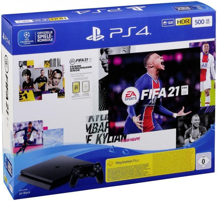 PlayStation 4 500GB F crna + FIFA 21 I NOVO I Račun I Jamstvo