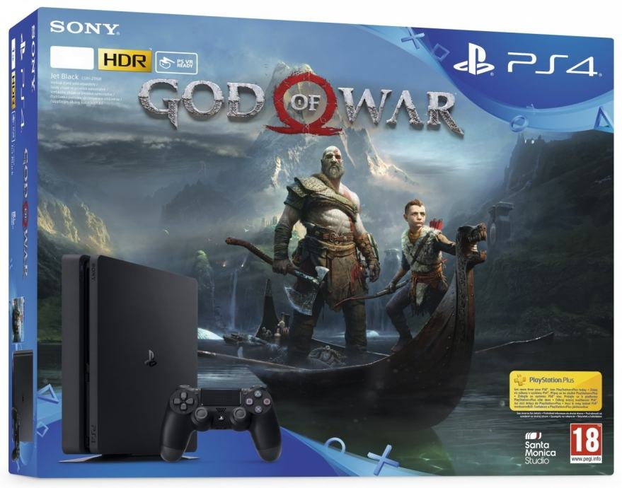 PlayStation 4 Slim 1000GB(1TB) (PS 4 - novo) HDR+VR Ready + God Of War