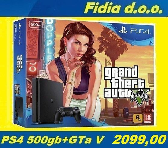 ⭐️⭐️ PLAYSTATION 4 SLIM 500GB + GTa V - NOVO !!! ⭐️⭐️
