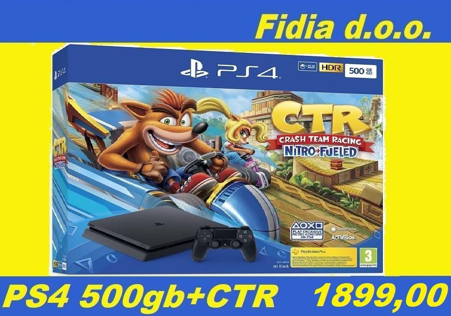⭐️⭐️ PS 4 SLIM 500GB + CTR Nitro-Fueled - NOVO !!! ⭐️⭐️