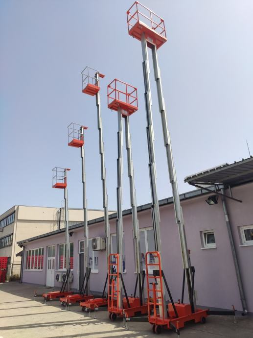 Mobilna aluminijska radna platforma 250kg 10m 1500x630cm