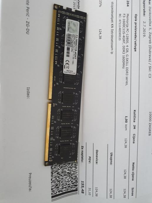 G.Skill 4GB DDR3 1600MHz Garancija