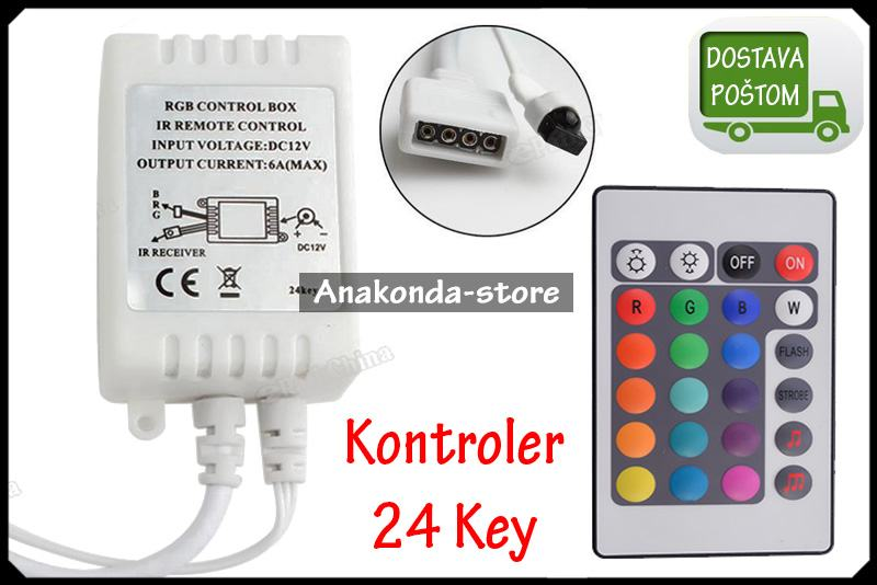 IR Kontroler + Daljinski 24 tipke za RGB LED Trake 3528 i 5050 ★RAČUN★