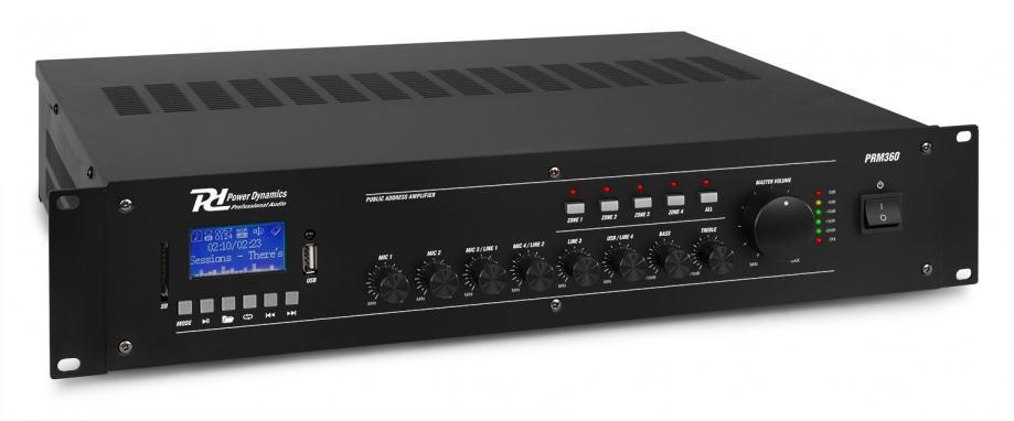 Tronios POWER DYNAMICS PRM360 100V 6-CH MIXER-AMPLIFIER 4-ZONE 360W