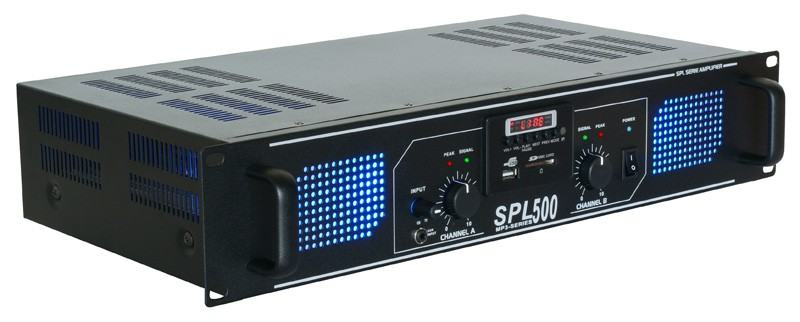 Tronios SKYTEC SPL 500MP3 Amplifier blue LED + EQ Black