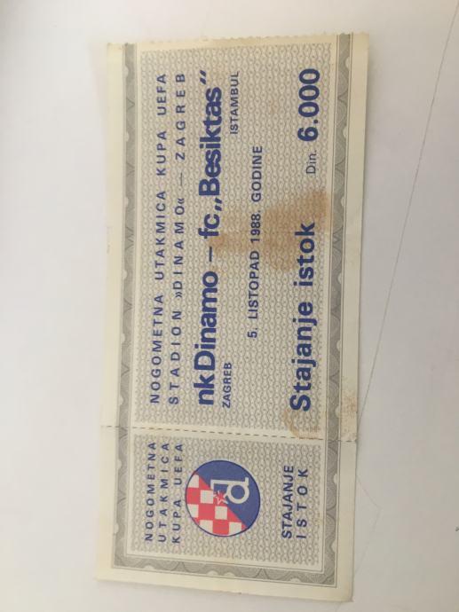 Prodajem ulaznicu Dinamo - Beštiktaš 1988.