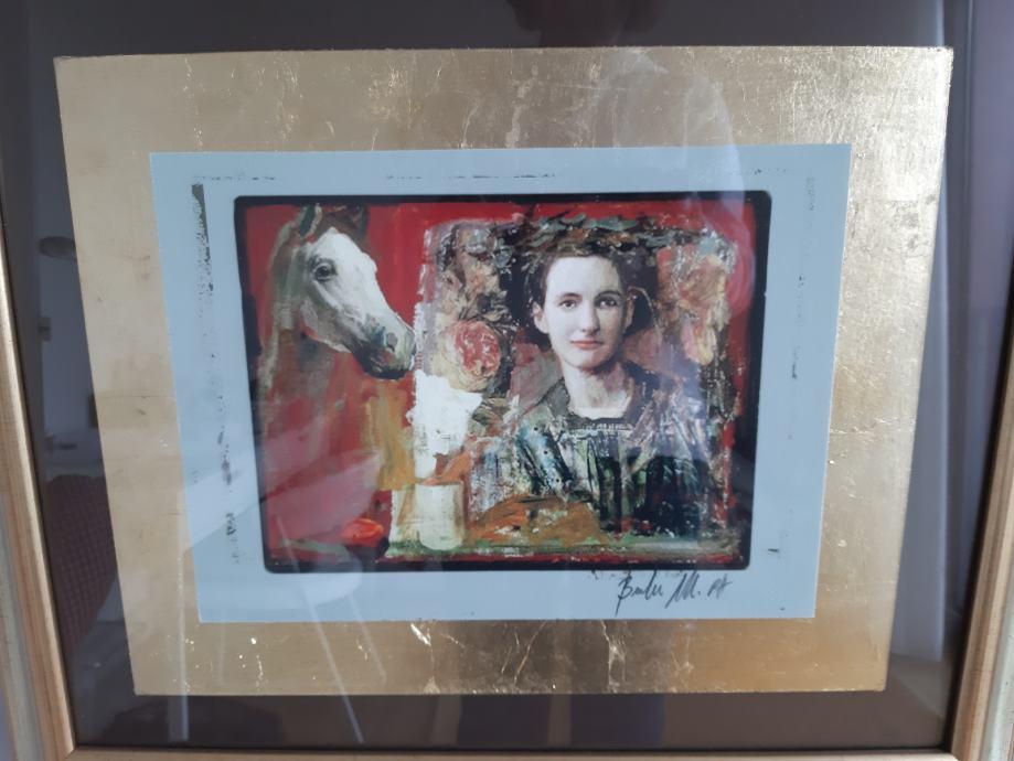 Mersad Berber kombinirana tehnika portret djevojke sa konjem diptih
