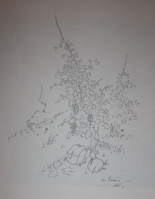 "Mijo Kovačić ""Grožđe"" crtež tušem 60x40cm iz 1995. g"