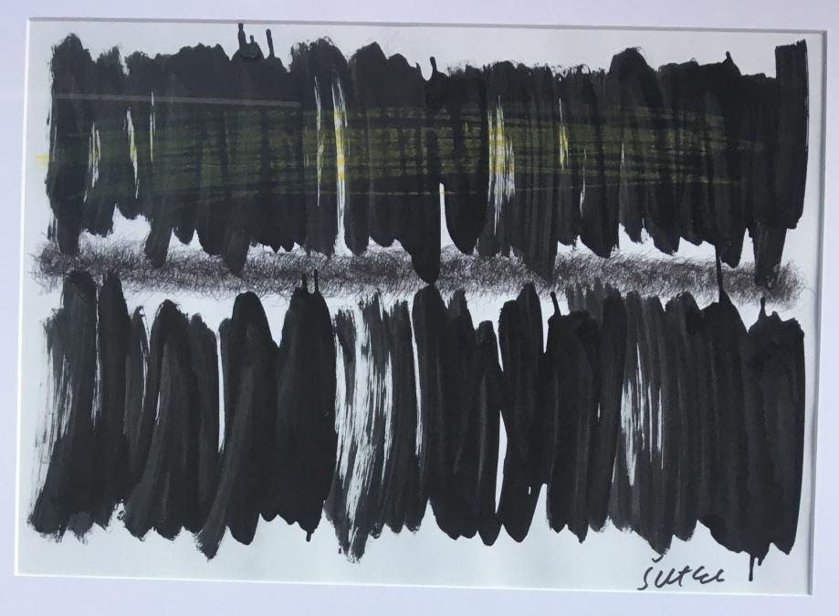 MIROSLAV ŠUTEJ - Akril / tuš na papiru - Apstrakcija - 64x53cm