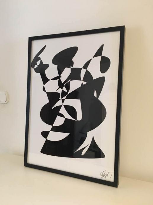Slika abstract crno bijela
