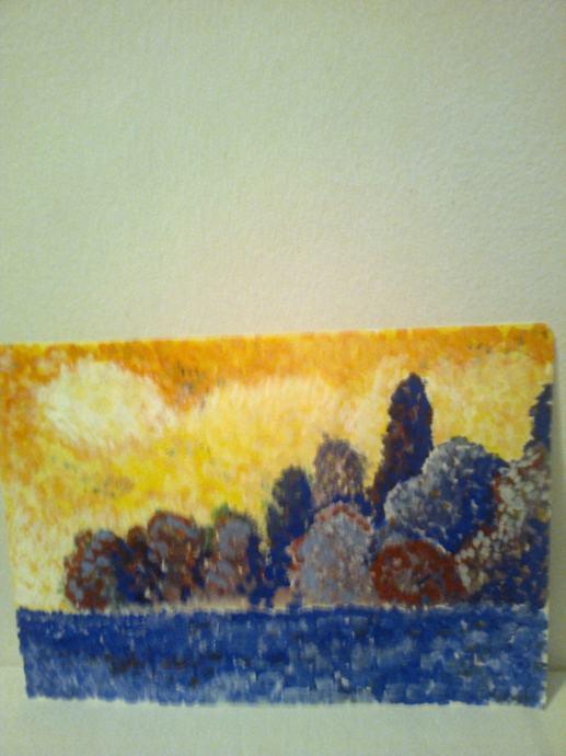 sliku Jezero- akril na papiru, prodajem