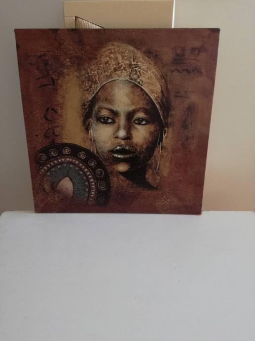 Umjetnička slika Crnkinja sa štitom /RASPRODAJA zbog selidbe
