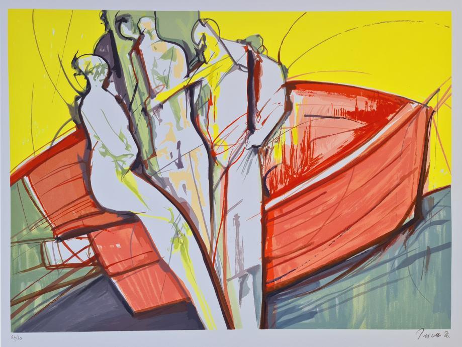 "Zlatko Prica ""U brodu"" svilotisak serigrafija 70x50cm; broj 24/80;"