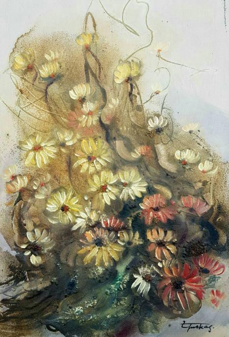 """Zorica Turkalj """"Cvijeće"""" ulje na platnu 80x60cm"""